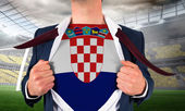 Businessman opening shirt to reveal croatia flag — Stock Photo