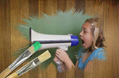 Composite image of little girl with bullhorn — Stock Photo