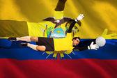 Bramkarz w żółty dokonywanie zapisu — Zdjęcie stockowe