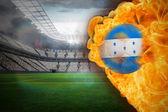 Composite image of fire surrounding honduras flag football — Stock Photo