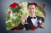 Groom toasting with champagne — Stock Photo
