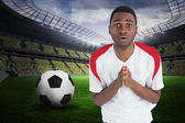 Nervous football fan in white looking ahead — Stock Photo