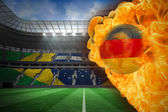 Composite image of fire surrounding germany flag football — Stock Photo