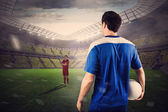 Football players facing off — Stock Photo