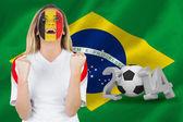 Obraz kompozytowy podekscytowany fan Belgii w twarz farby doping — Zdjęcie stockowe