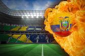 Composite image of fire surrounding ecuador flag football — Stock Photo