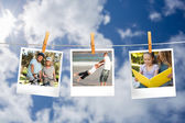 Instant photos hanging on a line — Stock Photo