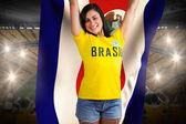 Brasil tshirt heyecanlı futbol fan — Stok fotoğraf