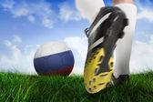 Bola do futebol bota chutando na Rússia — Fotografia Stock