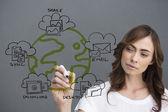 Businesswoman writing doodle — Stock Photo
