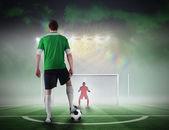 Giocatore di gioco del calcio per prendere una sanzione — Foto Stock