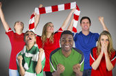 Composite image of football fans — Stock Photo
