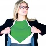 Businesswoman opening shirt in superhero style — Stock Photo #46789193