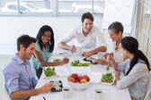 Workers enjoying healthy lunch — Stock Photo