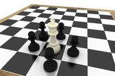 Black pawns surrounding white king — Stock Photo