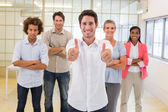 Workers giving thumbs up — Stock Photo