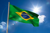 Brazil national flag on flagpole — Stock Photo