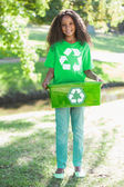 Environmental activist holding box — Stock Photo