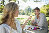 Blonde toasting with her boyfriend — Stock Photo