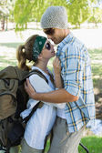 Couple embracing each other on a hike — Stock Photo
