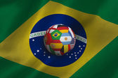 Football against brasil flag — Stock Photo