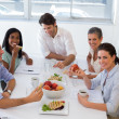 Workers enjoying sandwiches for lunch — Stock Photo #46793041