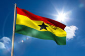 Ghana national flag on flagpole  — Stock Photo