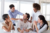 Businessman praising coworker — Stock Photo