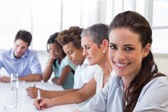Businesswoman at business meeting — Stock Photo