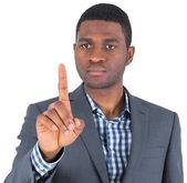 Focused businessman pointing — Stock Photo