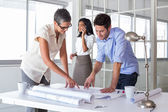 Architects looking at important blueprints — Stock Photo