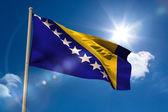 Bosnian national flag on flagpole — Stock Photo