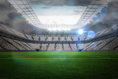 Large football stadium with lights — Foto Stock