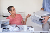 Businesswomans workload getting bigger and bigger — Stock Photo