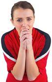 Nervous football fan in red — Foto de Stock
