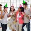 Workers celebrating a birthday together — Stock Photo