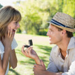 Man surprising his girlfriend with a proposal — Stock Photo #48235287