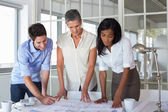 Team of architects looking at blueprints — Stock Photo