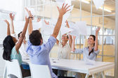 Workers throwing paper — Stock Photo