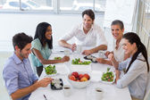 Workers enjoying lunch break — Stock Photo