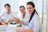 Workers eating lunch — Stock Photo