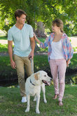Couple with their labrador in the park — Stock Photo