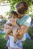 Couple together in the park — Stock Photo