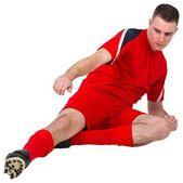 Fotbollsspelare spelar och sparkar — 图库照片