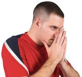 Nervous football player looking ahead — Stock Photo