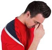 Disappointed football fan — Stock Photo