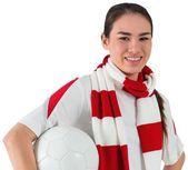 Football fan holding ball — Stock Photo