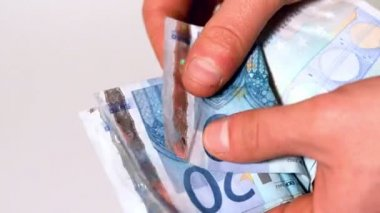 Hand counting euro notes — Stockvideo