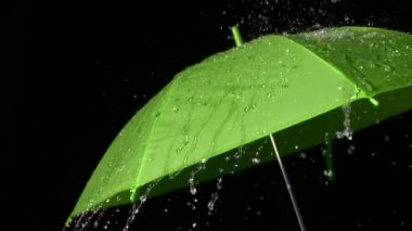 Rain falling on green umbrella — Video Stock