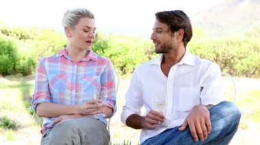 Couple drinking white wine — Stock Video